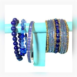 📿 4 PC Set of Blue Bracelets